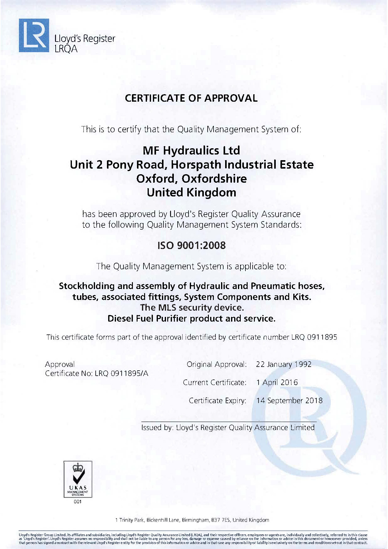 MF Hydraulics ISO Certificate