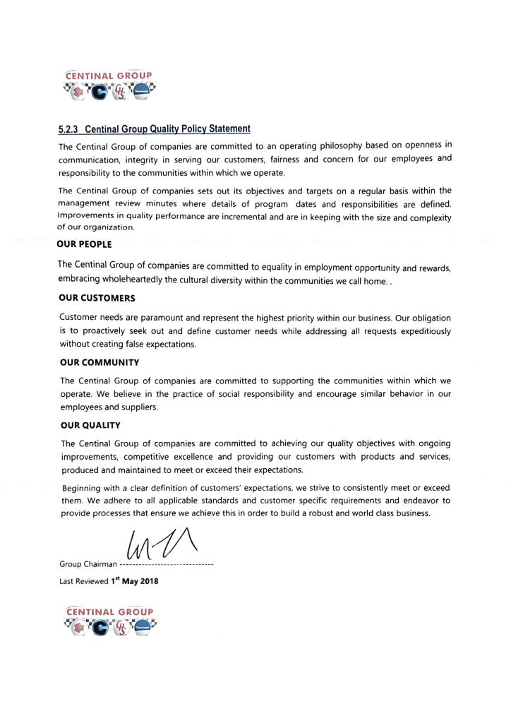 Centinal Group Quality Policy & Mission Statement